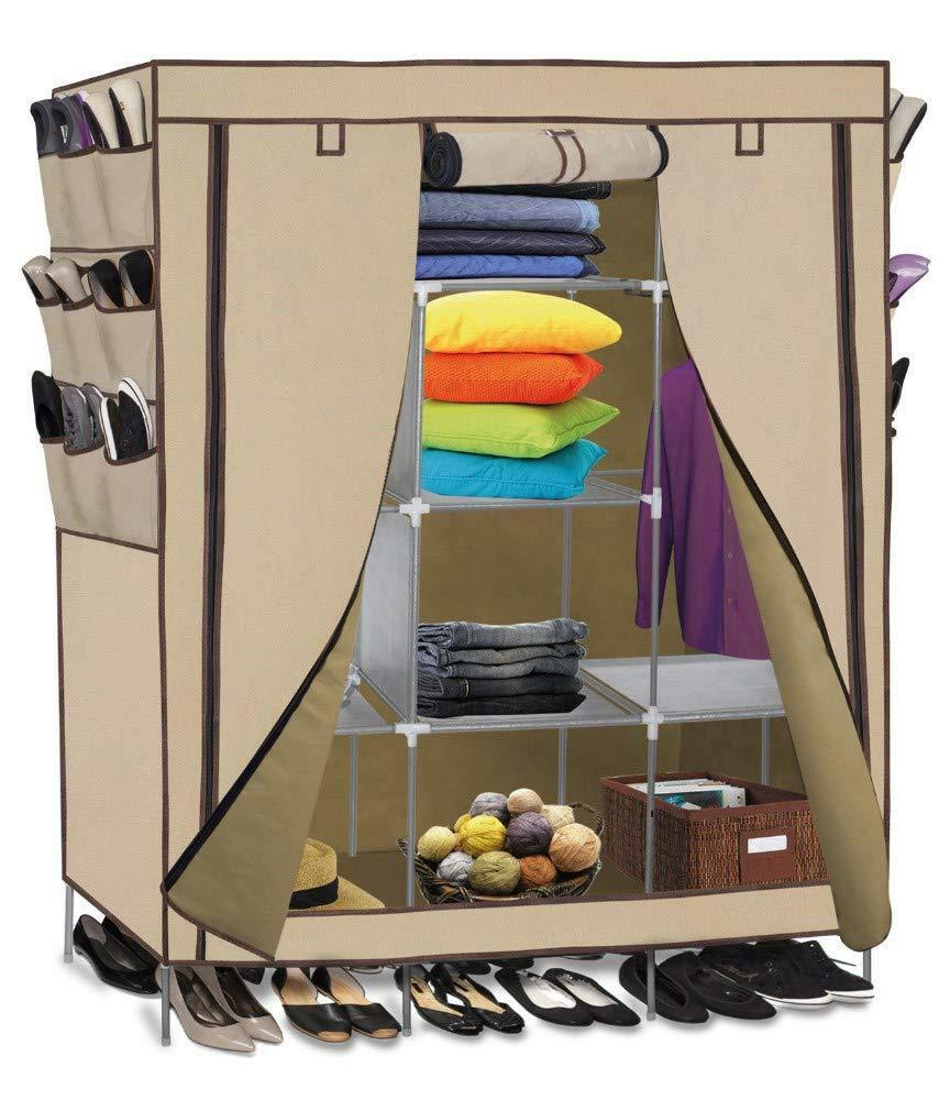 Portable Wardrobe w/ Customizable Shelves, Shoe Storage and Removable Cover-Beige-Daily Steals