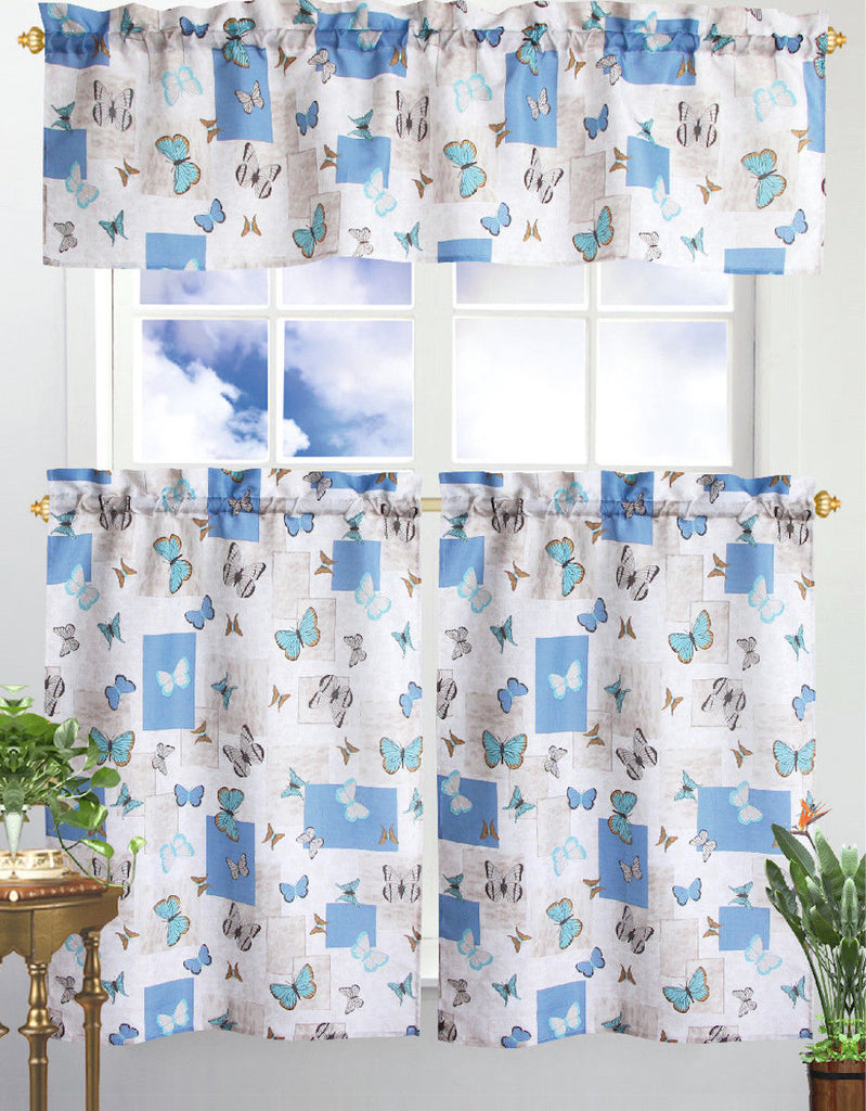 Kitchen Curtain & Valance by Chef's Collection - 3 Piece Set-Blue Butterfly-Daily Steals