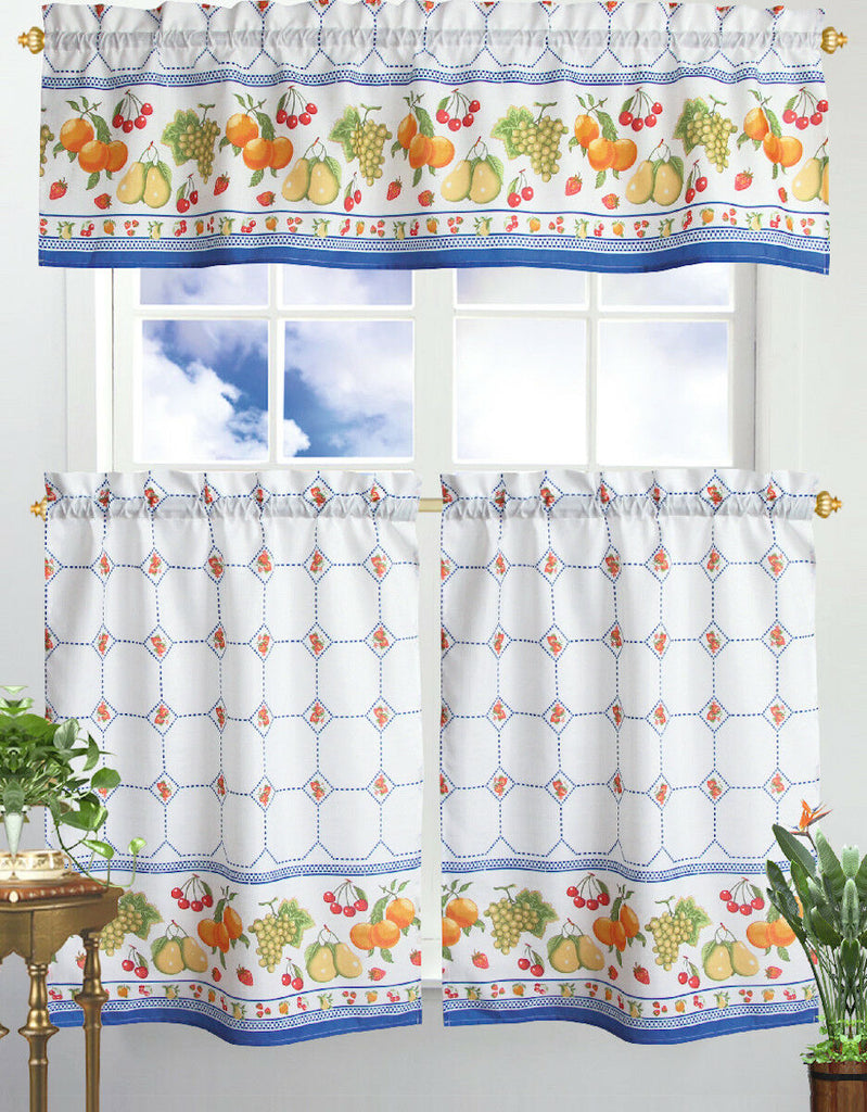 Kitchen Curtain & Valance by Chef's Collection - 3 Piece Set-Wild Fruit-Daily Steals