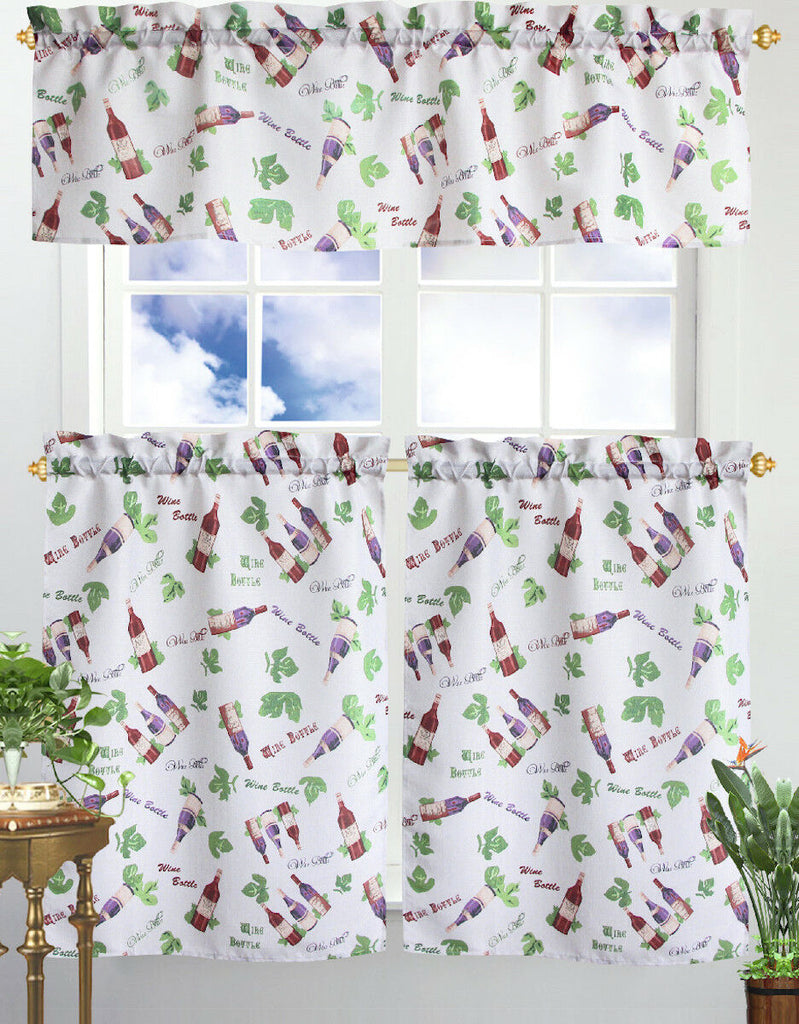Kitchen Curtain & Valance by Chef's Collection - 3 Piece Set-Wine Bottles-Daily Steals