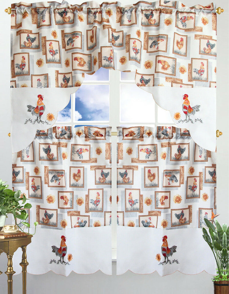Kitchen Curtain & Valance by Chef's Collection - 3 Piece Set-Rooster-Daily Steals