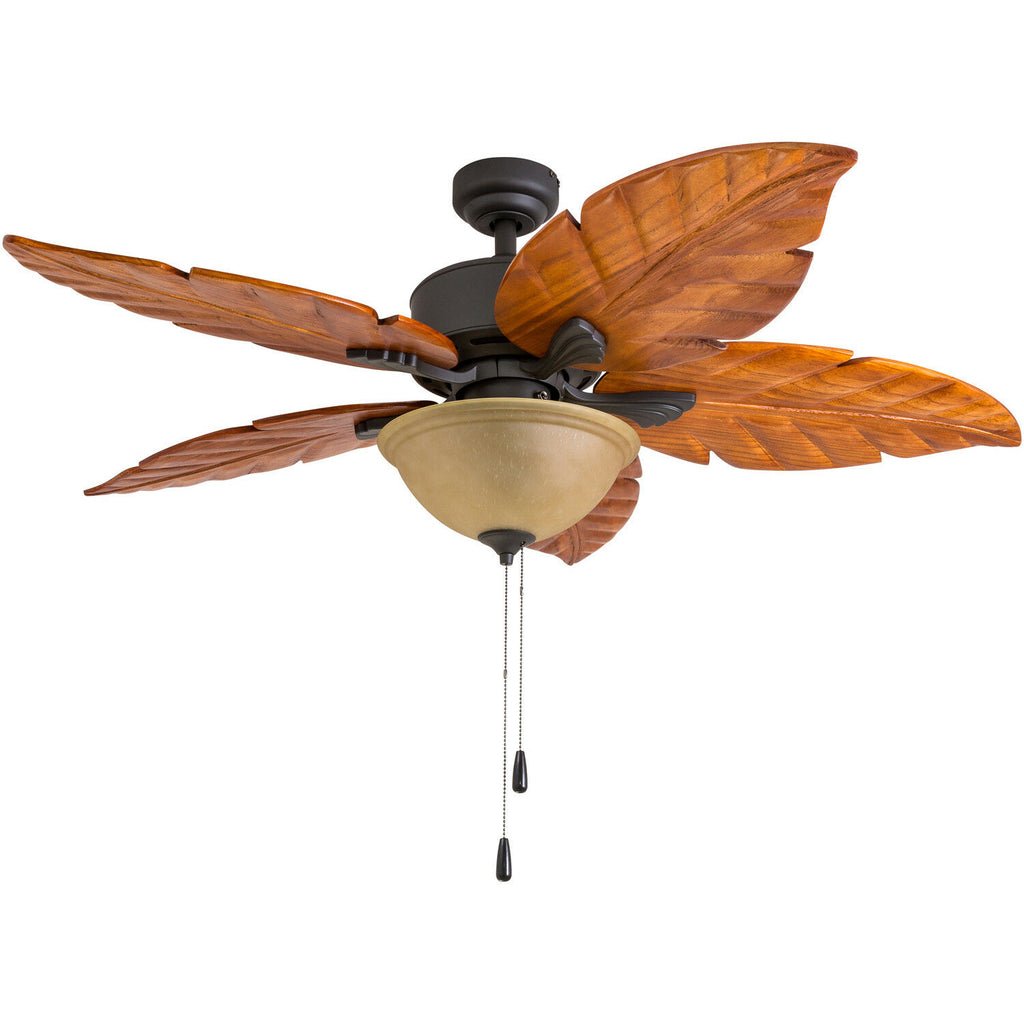 Ponte Vedra 80019 Ceiling Fan, 50 inch, 5 Palm Carved Wood, Wet-Rated, Bronze-Daily Steals
