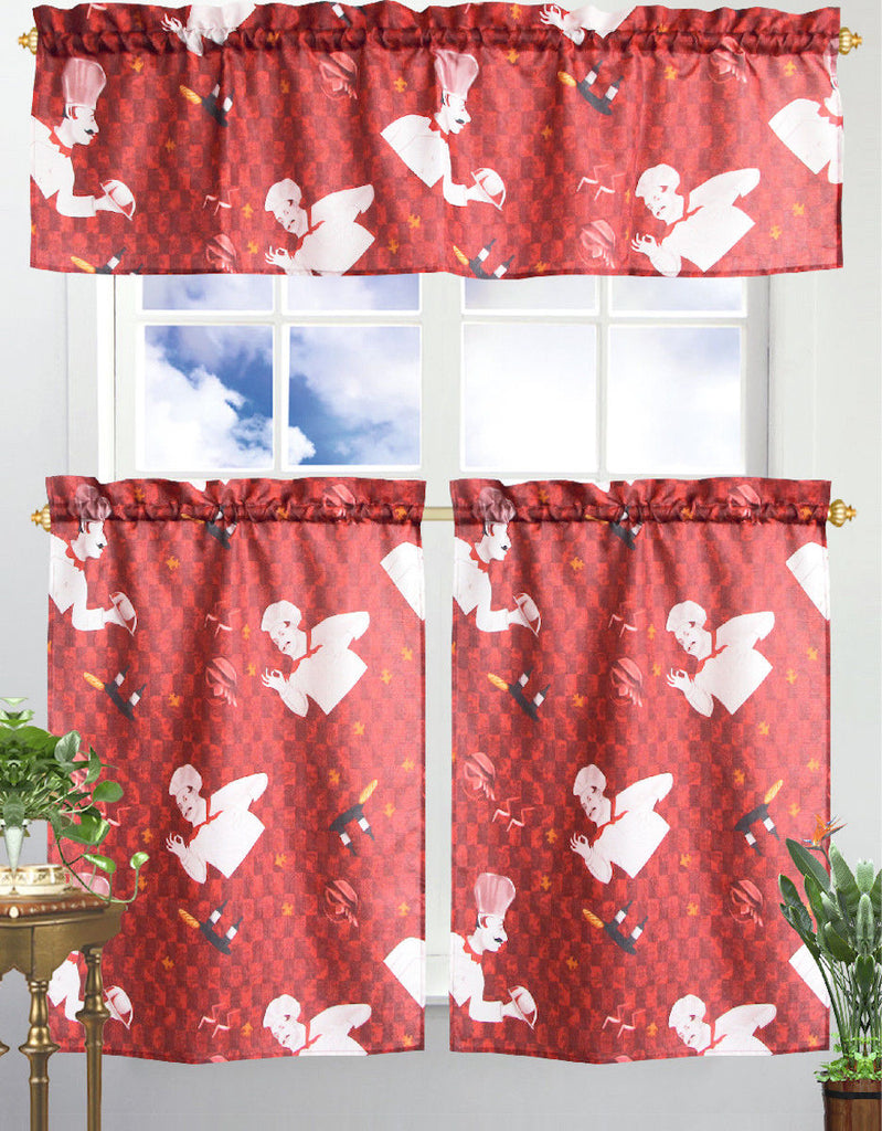 Kitchen Curtain & Valance by Chef's Collection - 3 Piece Set-Chef-Daily Steals