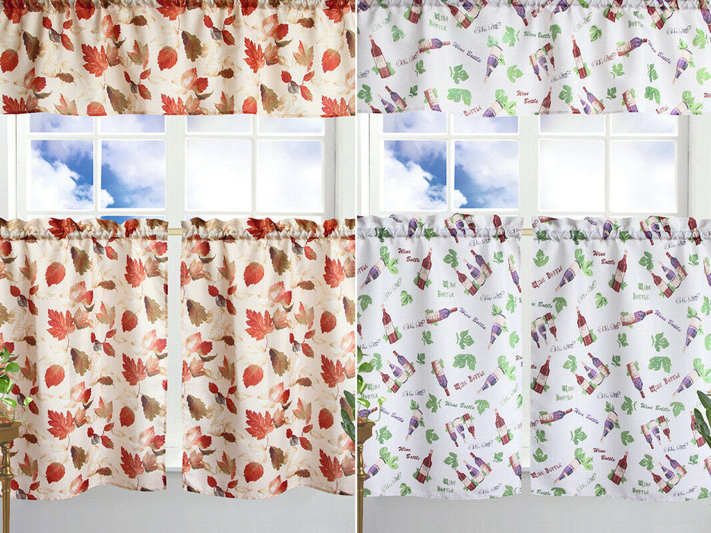 Kitchen Curtain & Valance by Chef's Collection - 3 Piece Set-Daily Steals