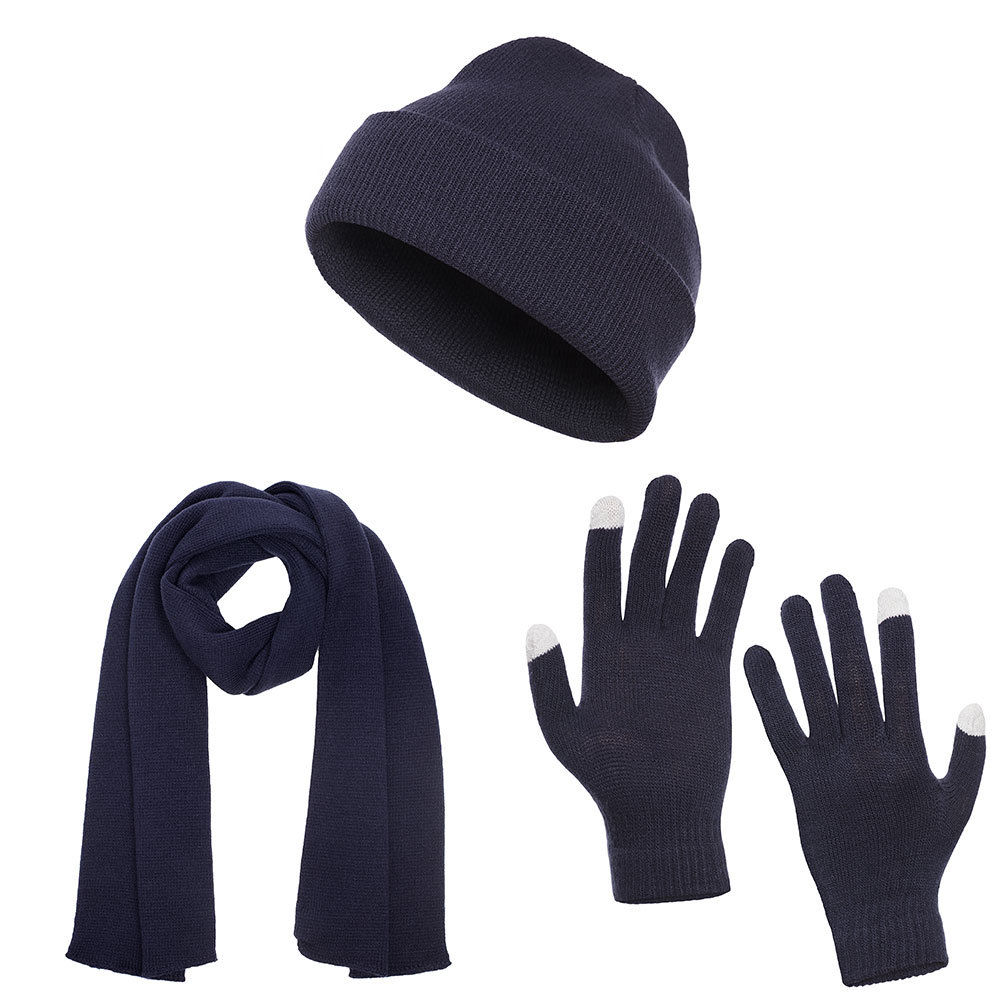 update alt-text with template Daily Steals-Casaba Unisex Flat Cuffed Beanie, Scarf, and Touch Screen Gloves-Accessories-Navy-