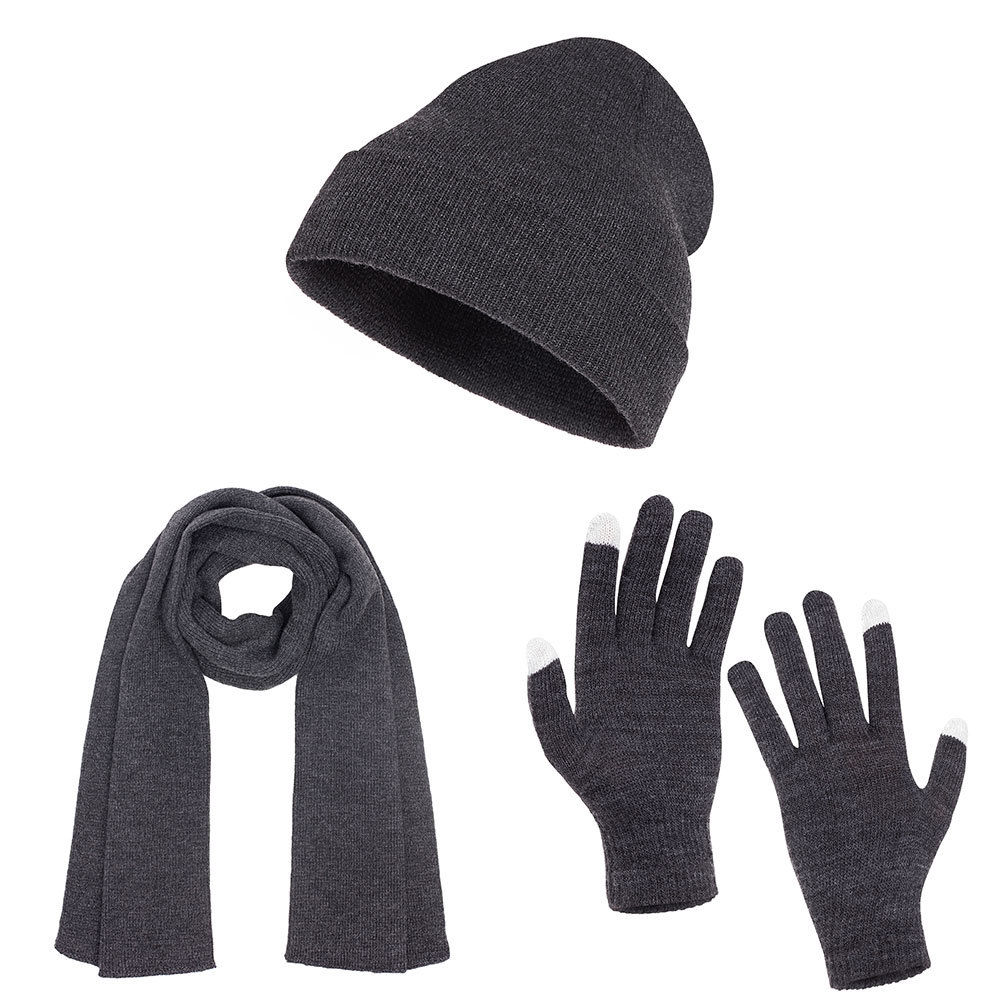 update alt-text with template Daily Steals-Casaba Unisex Flat Cuffed Beanie, Scarf, and Touch Screen Gloves-Accessories-Heather Charcoal-