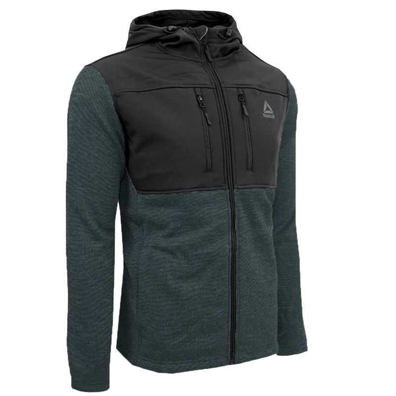 Reebok Men's Softshell Swacket Jacket-Charcoal Heather/Black-XL-Daily Steals