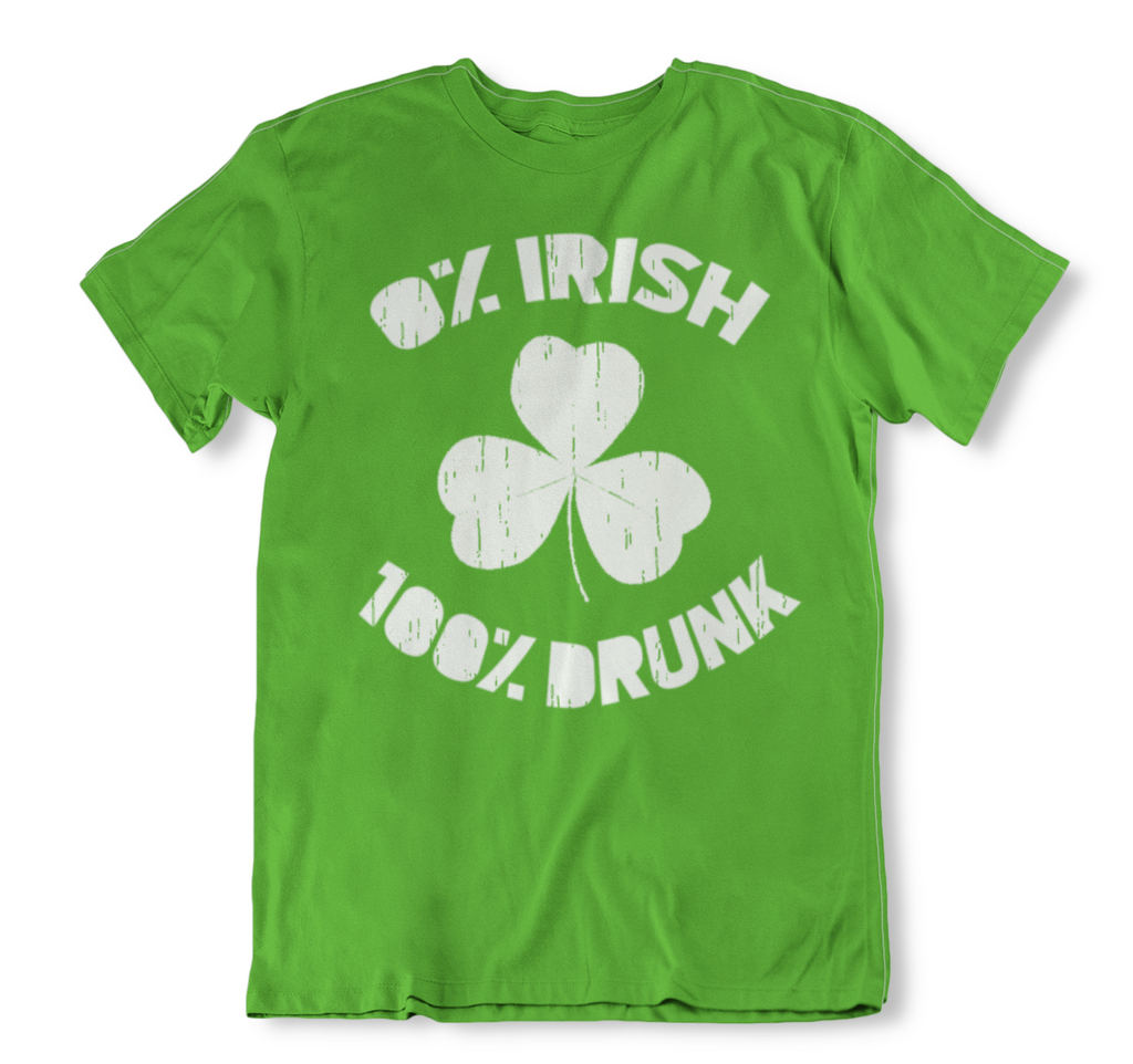 0% Irish 100% Drunk Funny St. Patrick's Day T Shirt-2XL-Daily Steals