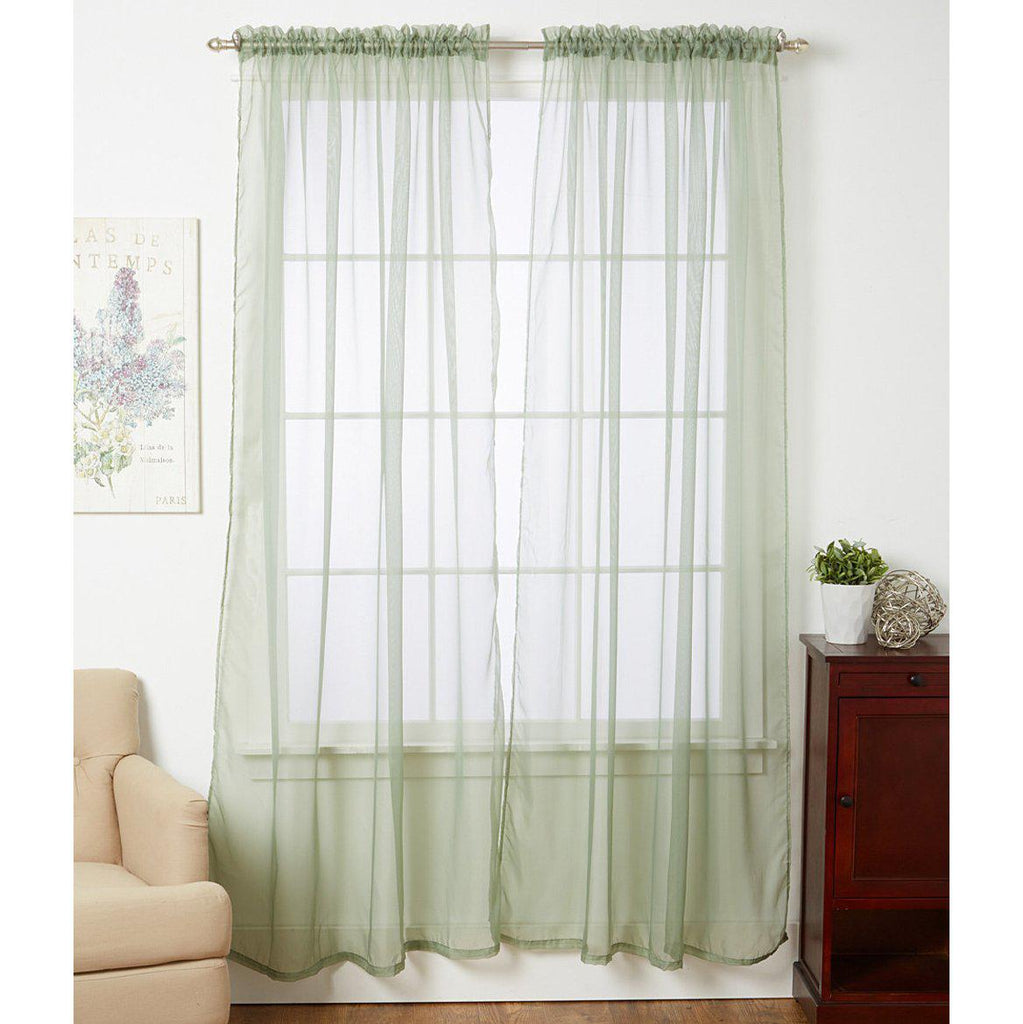 Linda Sheer Voile Curtain Panels - Various Colors - 4-Pack