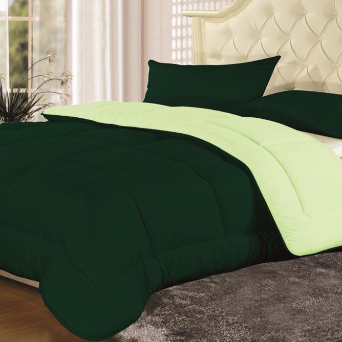 Reversible All-Season Down-Alternative Hipo-Allergenic Comforter-Sage-Hunter-Full / Queen-Daily Steals