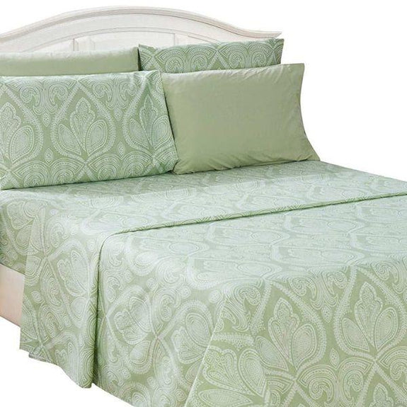 6 Piece Paisley Printed Deep Pocket Bed Sheet Set-SAGE-Full-Daily Steals