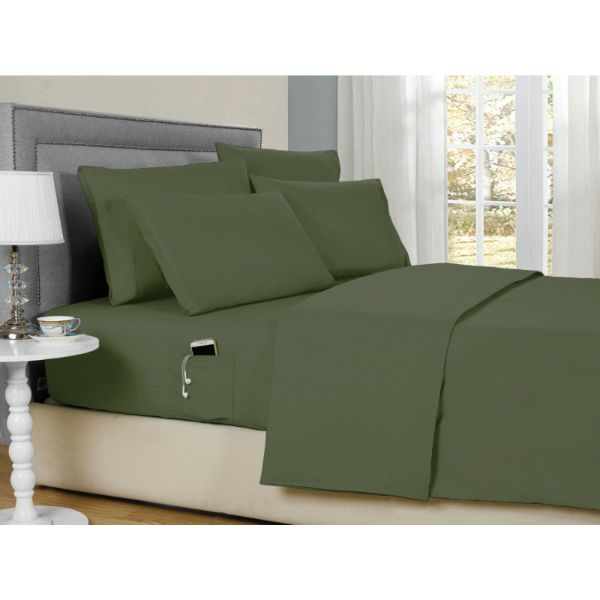 Bamboo 2000 6-Piece Smart Sheets Set with Storage Pocket-Sage-Full-Daily Steals
