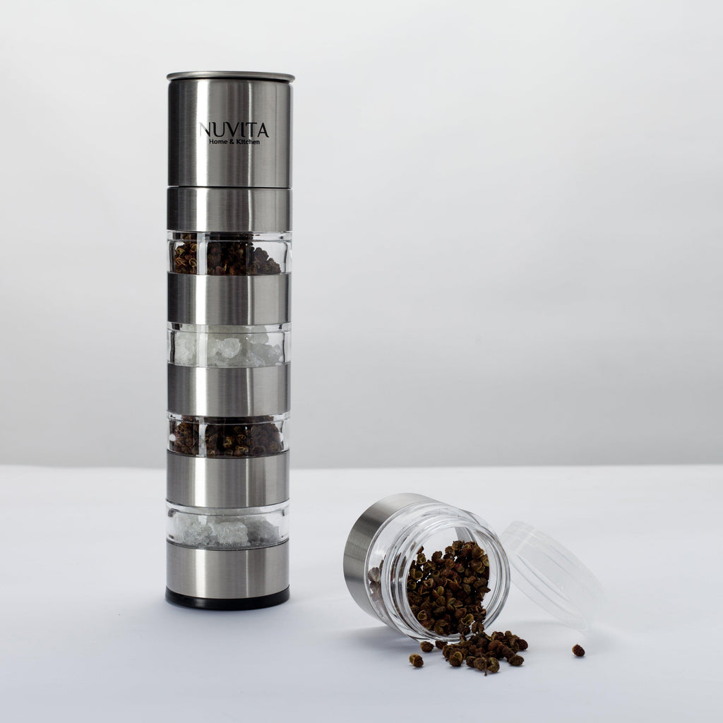 Nuvita Premium Stainless Steel Stackable Mini Salt and Pepper Grinder-Daily Steals