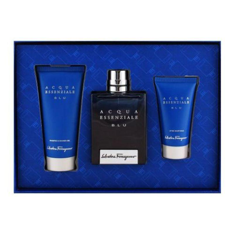 Salvatore Ferragamo Acqua Essenziale Blu 3 Piece Set - 3.4oz Eau De Toilet, 3.4oz Shower Gel, 1.7oz After Shave Balm-Daily Steals