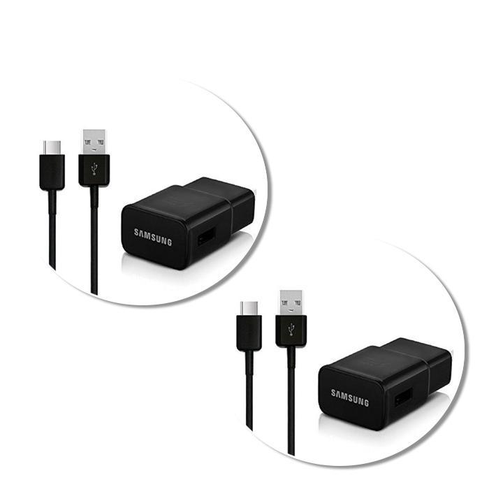 Samsung Fast Charge Travel Charger with USB-C Cable - Black-2 pack-Daily Steals