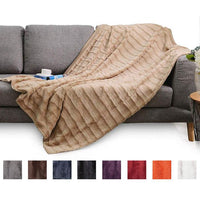 Ultra Cozy Faux Fur Microplush Reversible Throw Blanket