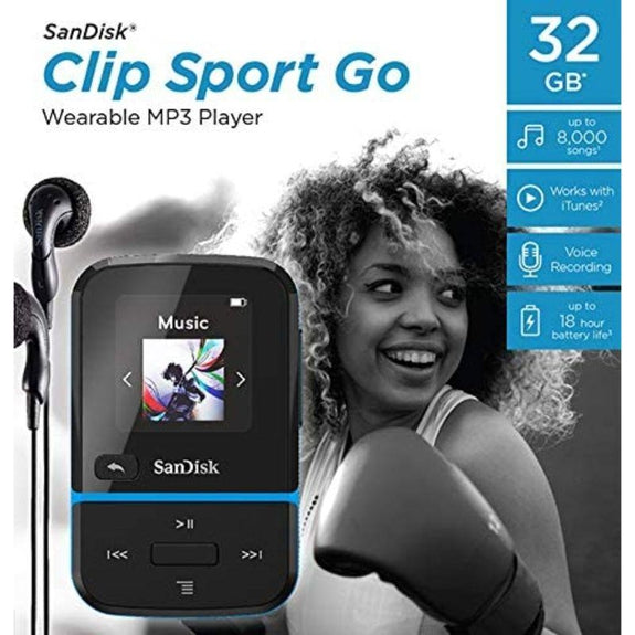 SanDisk 32GB Clip Sport Go MP3 Player, Blue LED Screen and FM Radio-