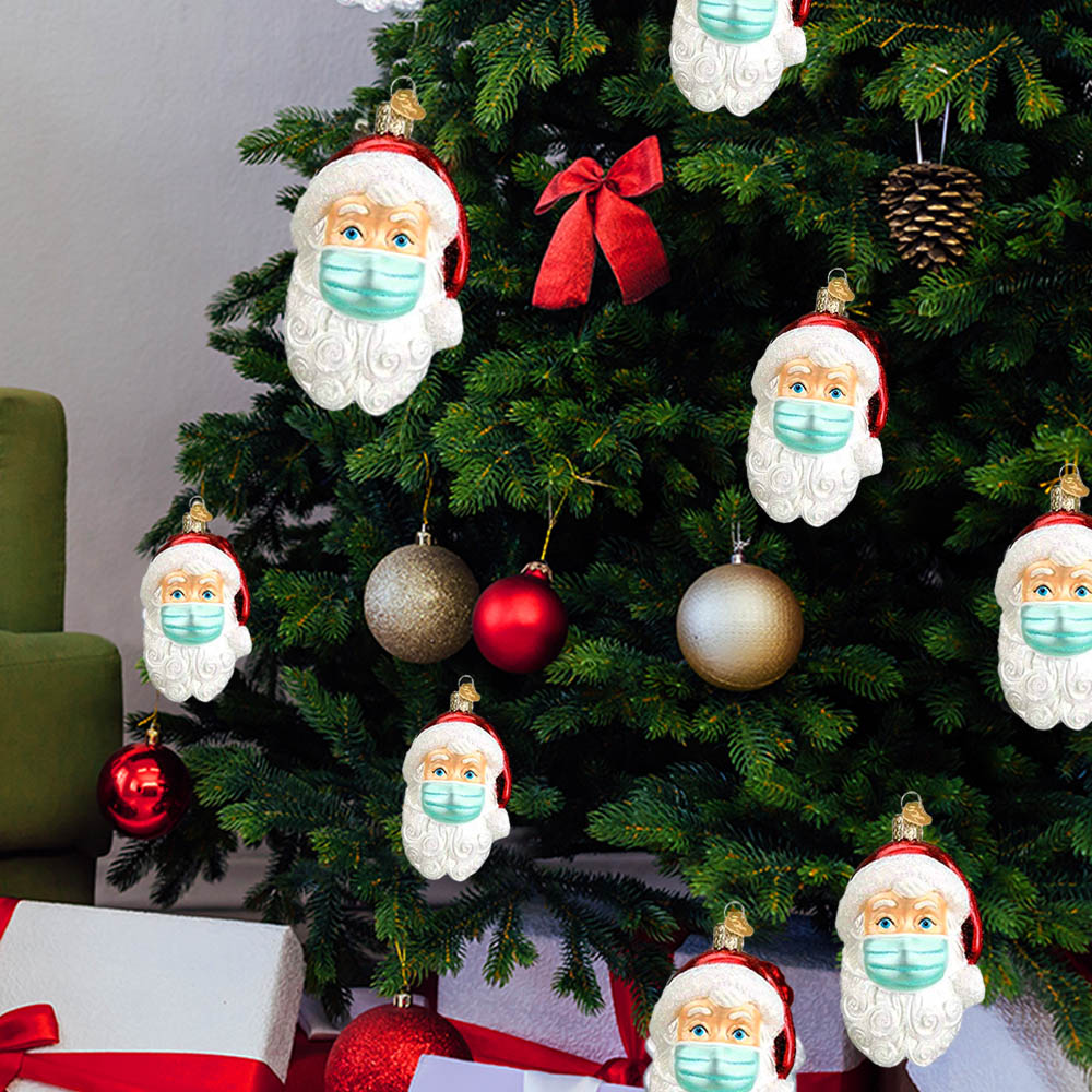 2020 PPE Masked Santa Claus Face Christmas Tree Ornament