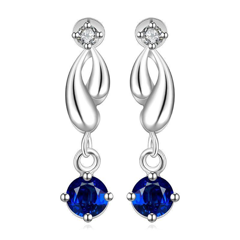 Sapphire Drop Earring in 18K White Gold Filled with Swarovski Crystals-Round Diamond-