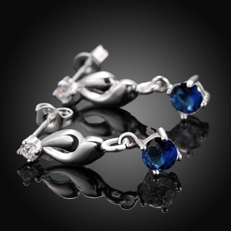 Sapphire Drop Earring in 18K White Gold Filled with Swarovski Crystals-Flower Diamond-