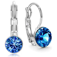 Sapphire Mini Baby Leverback .8 18K White Gold Earrings Filled w/ Swarovski-Daily Steals