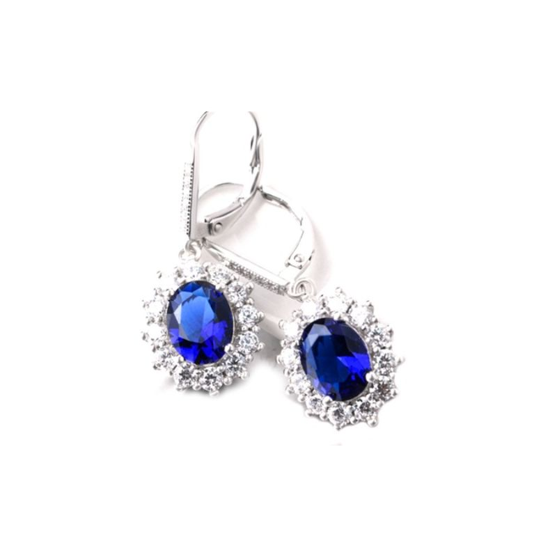 Sapphire Halo Leverback earrings in 18K White Gold Plating-Daily Steals