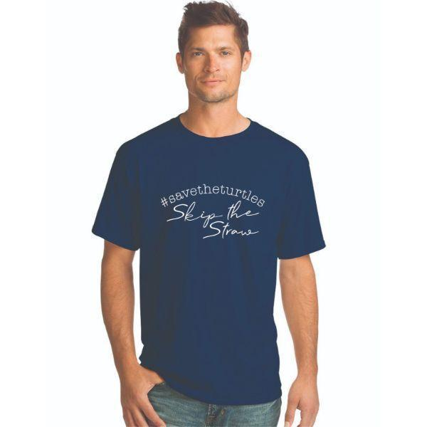 Daily Steals-#Savetheturtles - Skip the Straw T-Shirt-Men's Apparel-Navy-S-