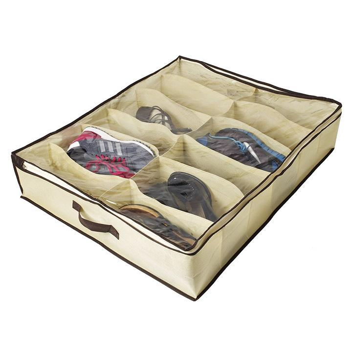 Sunbeam 12-Pocket Under-the-Bed Shoe Organizer-Daily Steals