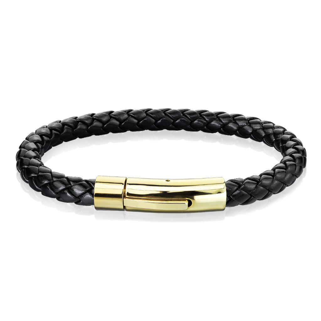 Stainless Steel Braided Leather Men Bracelet-Single Row Gold-Daily Steals