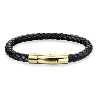 Stainless Steel Braided Leather Men Bracelet