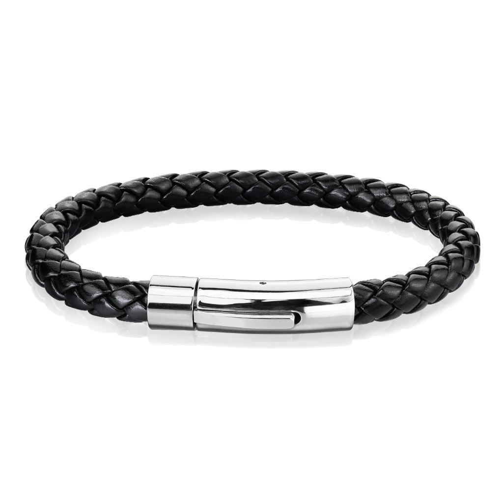 Stainless Steel Braided Leather Men Bracelet-Single Row White-Daily Steals