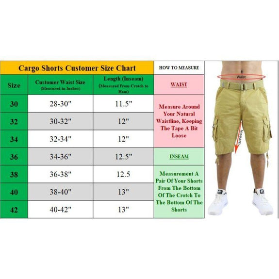 Men's Cotton Stretch Cargo Shorts with Belt - 2 Pack-Daily Steals