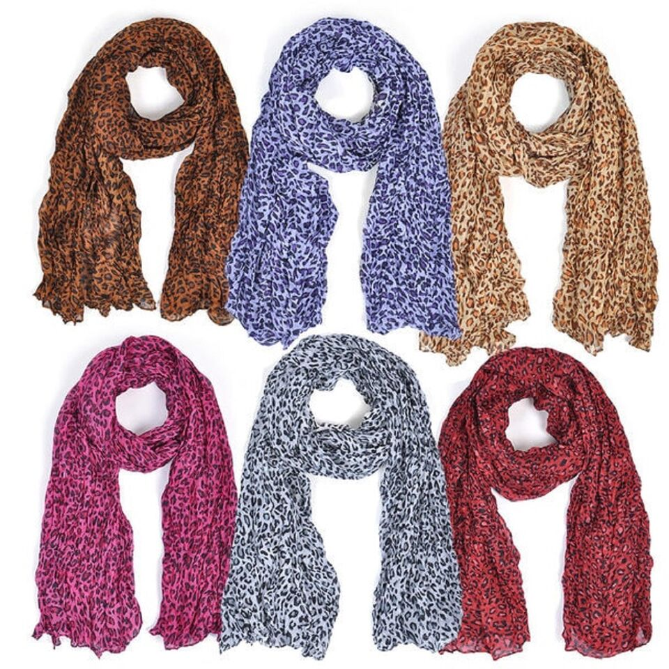 Spring/Summer Viscose Colorful Fashion Scarves - Assorted Designs - 6 Pack