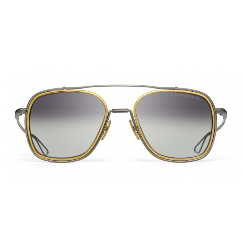 Lunettes de soleil unisexes DITA - System-One Black Palladium, or jaune Grey-Daily Steals