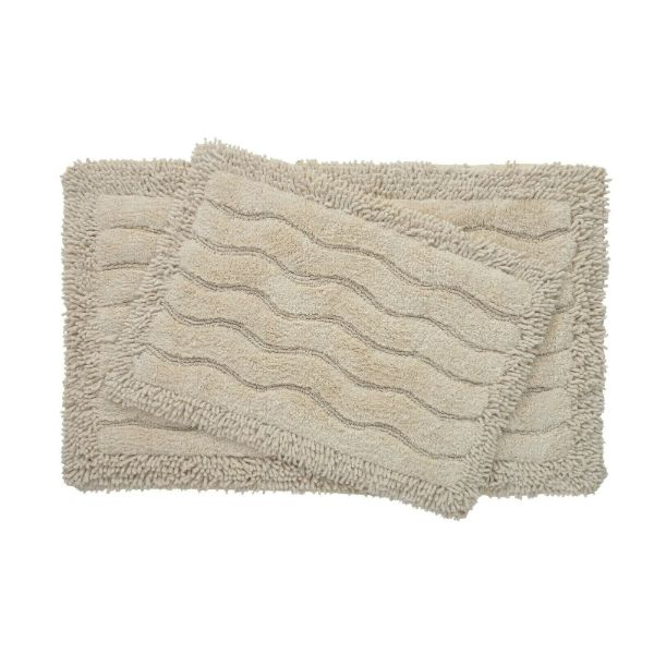 2-Piece Swirl Collection 100% Cotton Bath Rug Set-Sand-Daily Steals