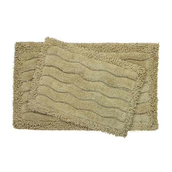 2-Piece Swirl Collection 100% Cotton Bath Rug Set-Olive-Daily Steals