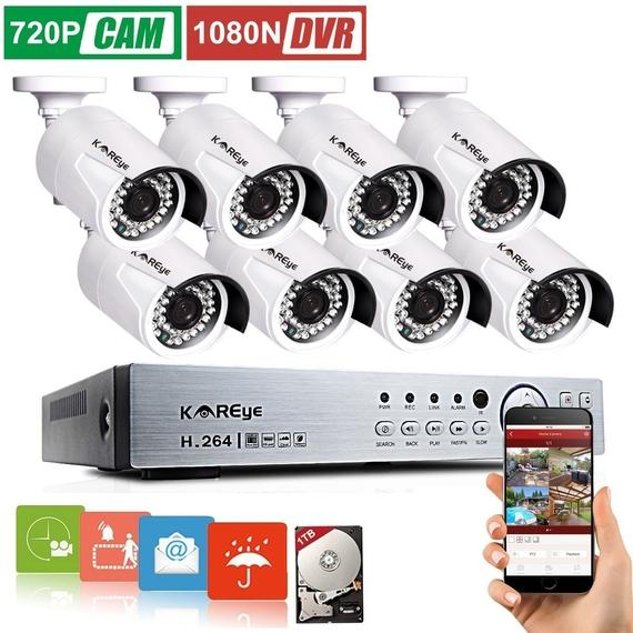 KAREye 16CH 1080N AHD DVR Video Security System with Smart Motion Detection and Alert