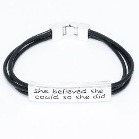 "Daily Steals-""She Believed She Could So She Did"" Inspirational Leather Bracelet-Accessories-"