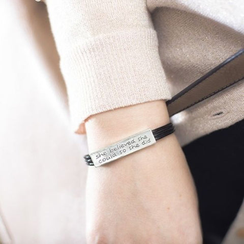 """She Believed She Could So She Did"" Inspirational Leather Bracelet-Daily Steals"