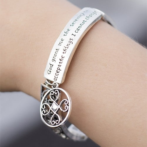 Serenity Prayer Engraved Bracelet - 3 Finishes-Daily Steals