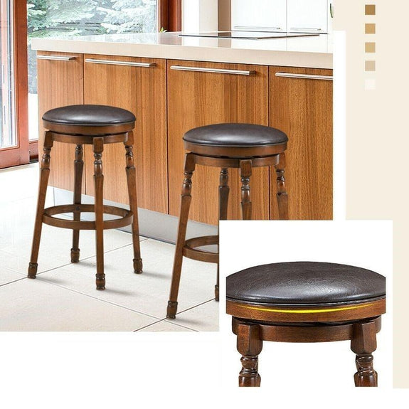 "Set of 2 29"" Swivel Leather Padded Dining Bar Stool-Daily Steals"