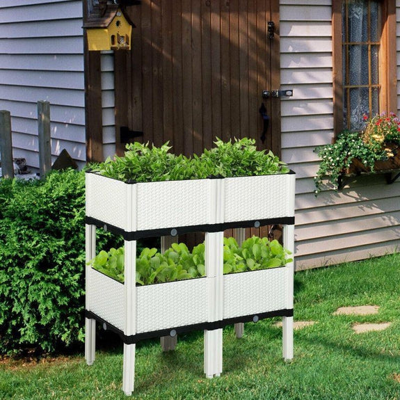 Set of 4 Elevated Flower Vegetable Herb Grow Planter Box-Brown-
