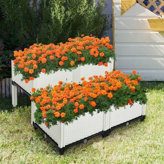 Set of 4 Elevated Flower Vegetable Herb Grow Planter Box-White-