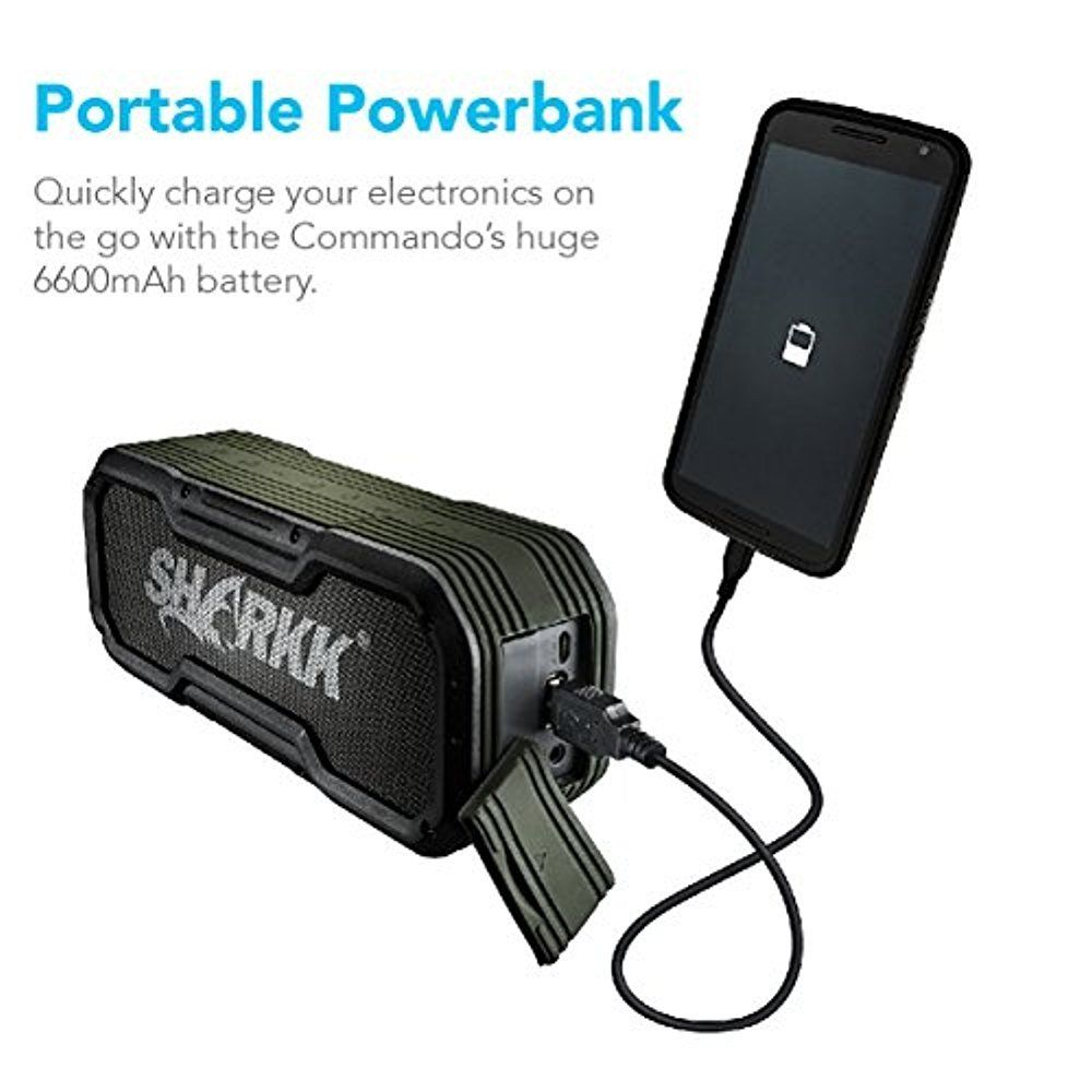 Sharkk Commando Wireless Bluetooth Speaker IP65 Waterproof 24 Hour Battery-Daily Steals