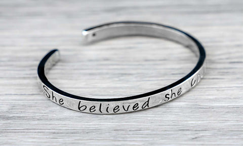 "Daily Steals-""She believed She Could So She Did"" Inspirational Cuff Bracelet-Jewelry-"