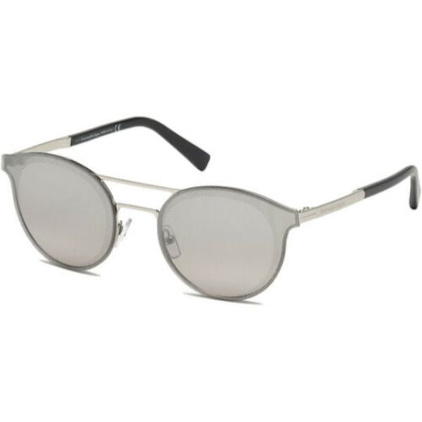 Ermenegildo Zegna Men's Brow Bar Pilot Sunglasses w/ Mirror Lens-Shiny Palladium-Daily Steals