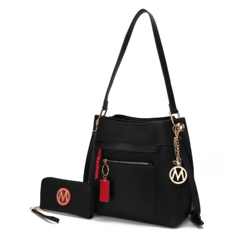 Shivani Hobo Handbag with Matching Wallet by MKF-Black-Daily Steals