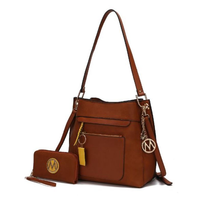 Shivani Hobo Handbag with Matching Wallet by MKF-Cognac-Daily Steals