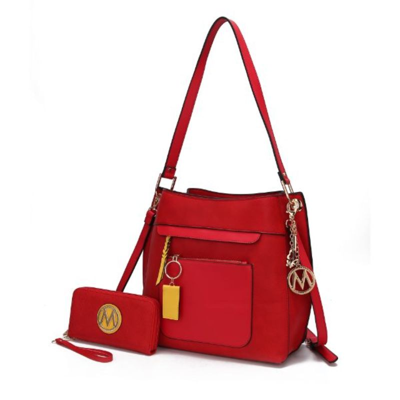 Shivani Hobo Handbag with Matching Wallet by MKF-Red-Daily Steals