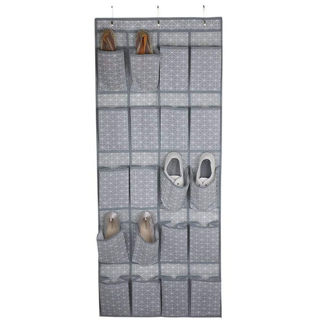 20 Pocket Over The Door Shoe Organizer, Non-Woven, Grey Diamond Collection-Daily Steals